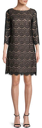 Eliza J Three-Quarter-Sleeve Lace Shift Dress