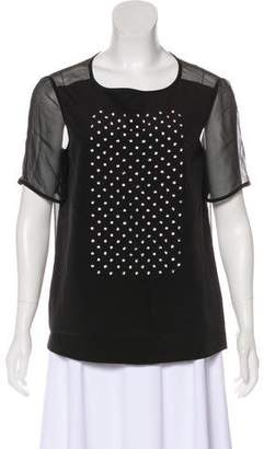 Tibi Embellished Short Sleeve Top