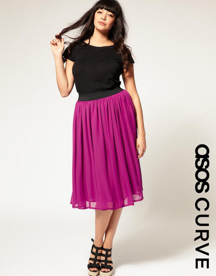 ASOS CURVE Chiffon Midi Skirt