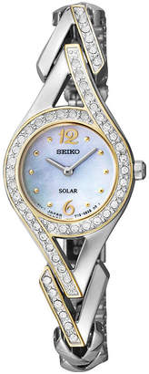 Seiko Womens Two-Tone Crystal Accent Mother-of-Pearl Solar Watch SUP174