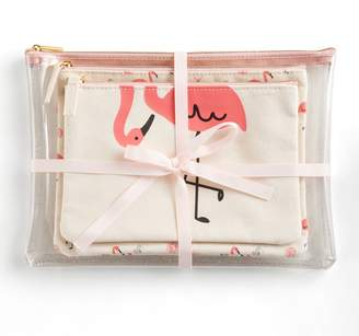 Lauren Conrad Beachy Flamingos 3-piece Cosmetic Bag Set