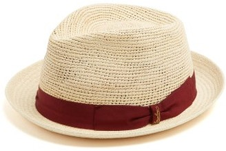 Borsalino Panama Woven And Crochet Straw Hat - Mens - Burgundy Multi