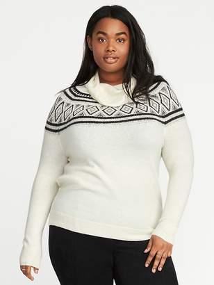 Old Navy Metallic Fair Isle Plus-Size Turtleneck Sweater