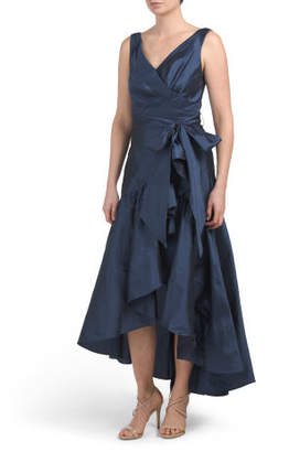 Taffeta Dress With Asymmetrical Cascade