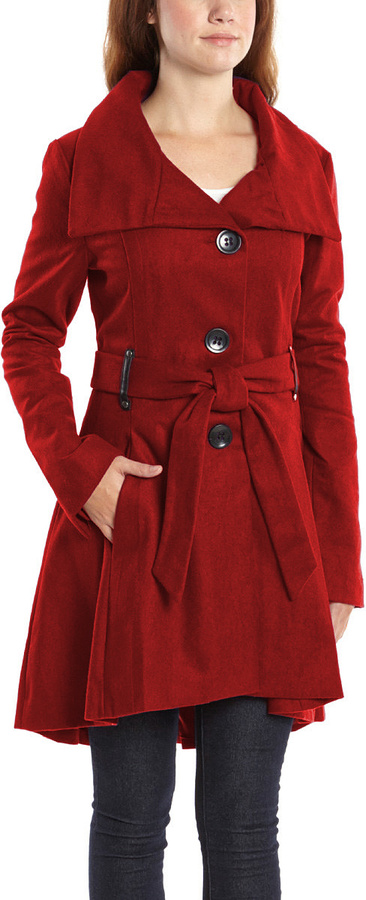Red Belted Flare Trench Coat