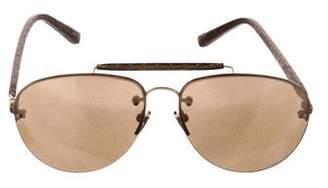 9cc35086b896 Linda Farrow Luxe 24k Snakeskin Aviator Sunglasses