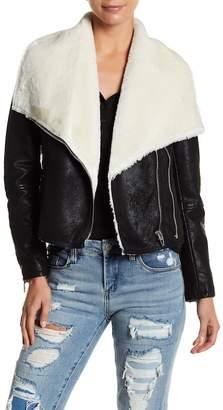 Blank NYC BLANKNYC Denim Faux Shearling Moto Jacket