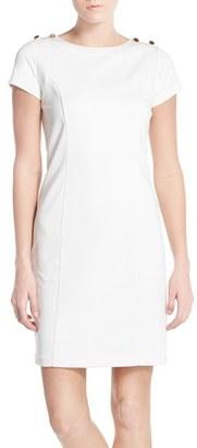 Women's Ellen Tracy Button Accent Ponte Sheath Dress $118 thestylecure.com
