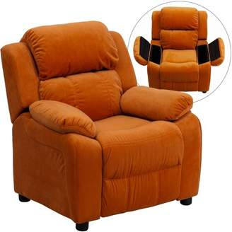 Riverstone Furniture Deluxe Padded Contemporary Kids Recliner with Storage Arms - Riverstone