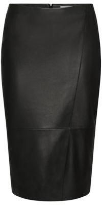 Hugo Boss Seylise Lambskin Asymmetrical Seam Pencil Skirt 0 Black $595 thestylecure.com