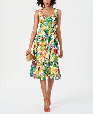 Donna Ricco Printed Sweetheart-Neck Dress