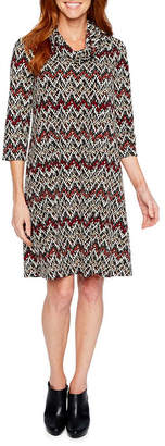 Perceptions 3/4 Sleeve Chevron Shift Dress