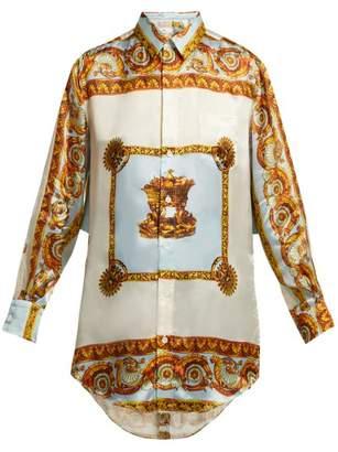 Toga Baroque Print Satin Shirt - Womens - Blue Multi