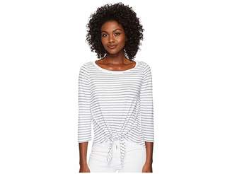 Three Dots Big Sur Stripe Tie Front Tee Women's T Shirt