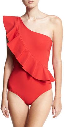 La Petite Robe di Chiara Boni Atlante One-Shoulder Ruffle Swimsuit, Black $395 thestylecure.com
