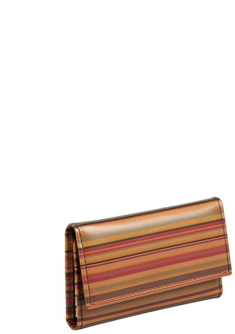 Paul Smith brown striped leather snap key card case