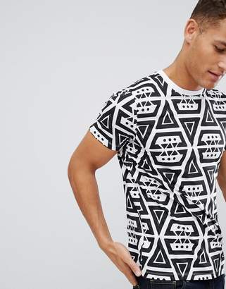 Asos DESIGN t-shirt with all over mono geo-tribal print