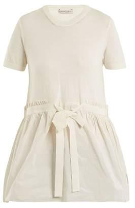Moncler Crew Neck Tie Waist Cotton Top - Womens - White