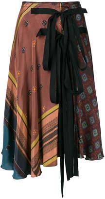 Hache waist-tied flare skirt