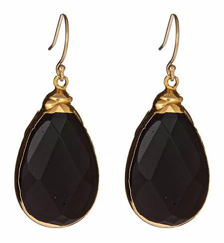 Janna Conner Gold & Onyx Teardrop Sarotte Earrings