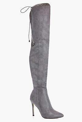 boohoo NEW Womens Pointed Toe Thigh High Boots in Grey size 9