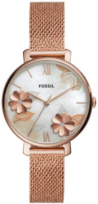 Fossil Women Jacqueline Rose Gold-Tone Stainless Steel Mesh Bracelet Watch 36mm