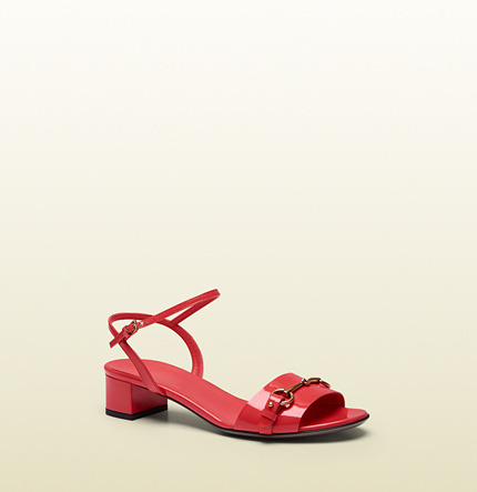 Gucci Ursula Begonia Pink Patent Leather Low-Heel Sandal
