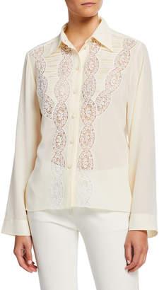 Chloé Button-Down Long-Sleeve Lace Trim Silk Shirt