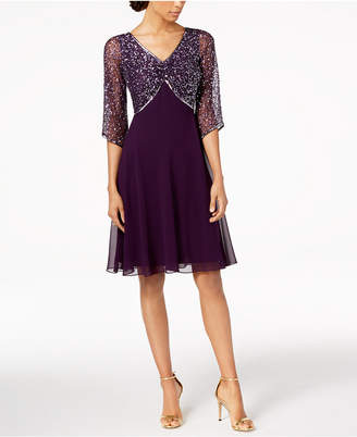 J Kara 3/4-Sleeve Sequined Dress