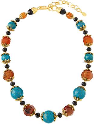 Jose & Maria Barrera Turquoise & Carnelian Crystal Necklace
