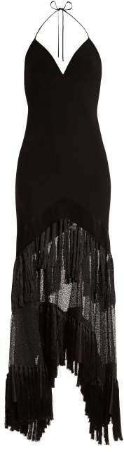 V-neck fringed lace gown