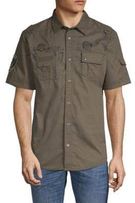 ProjekRaw Patchwork Short-Sleeve Twill Shirt