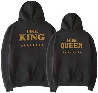 0b146f406c D-Sun King & Queen Couple Matching Hoodies Outfits Sweatshirt Pullover  Sweater, 1 Pcs