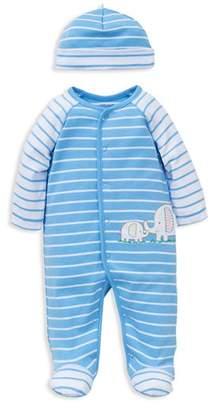 Little Me Boys' Elephant Striped Footie & Beanie Set - Baby