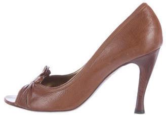 Bottega VenetaBottega Veneta Leather Peep Toe Pumps