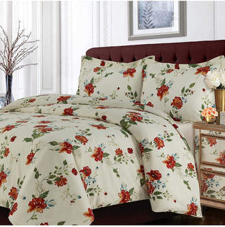Tribeca Living Madrid Printed Floral Oversized King Duvet Cover Set Bedding