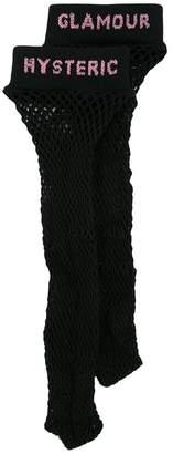 Hysteric Glamour fishnet logo socks