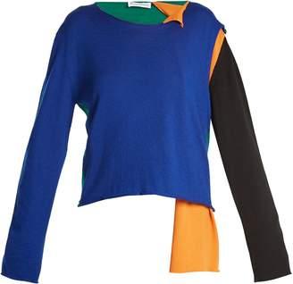 Asymmetric colour-block sweater
