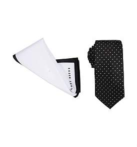 Geoffrey Beene 7Cm Tie & Pocket Square Set (Spot/Tipped)