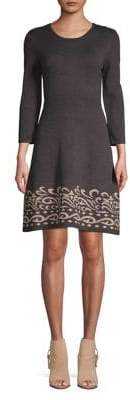 Eliza J Three-Quarter Sleeve Fit-&-Flare Dress