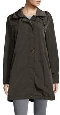 Via Spiga Packable Hooded Rain Jacket