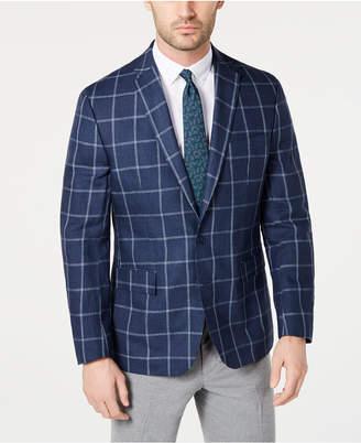 Ryan Seacrest Distinction Men Modern-Fit Linen Navy and White Windowpane Sport Coat