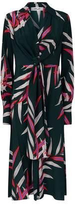 Diane von Furstenberg Leaf Print Silk Dress