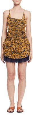 Etoile Isabel Marant Batson Tiered Floral Silk Mini Dress, Yellow