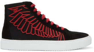 Marcelo Burlon County of Milan Black and Red Coralie Wings High-Top Sneakers