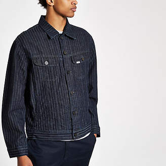 River Island Lee navy stripe denim jacket