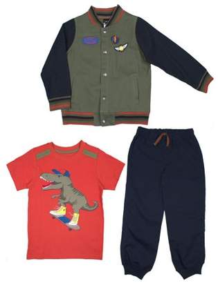 Little Rebels Varsity Jacket, Short Sleeve T-shirt & Twill Jogger Pants, 3pc Outfit Set (Toddler Boys)