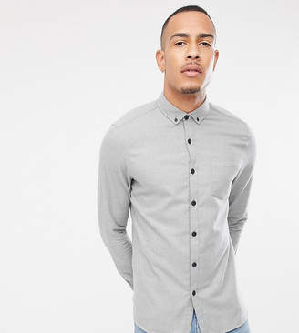 Asos Design DESIGN Tall regular fit flannel shirt in gray