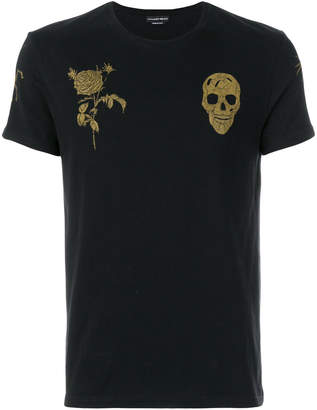 Alexander McQueen skull and rose embroidered T-shirt