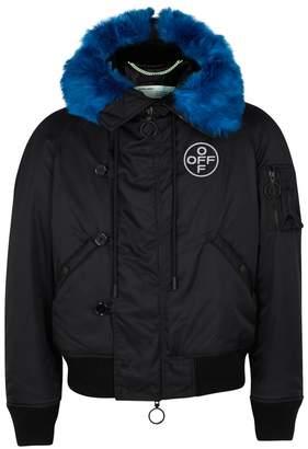 Off-White Off White Bomber Faux Fur-trimmed Nylon Jacket
